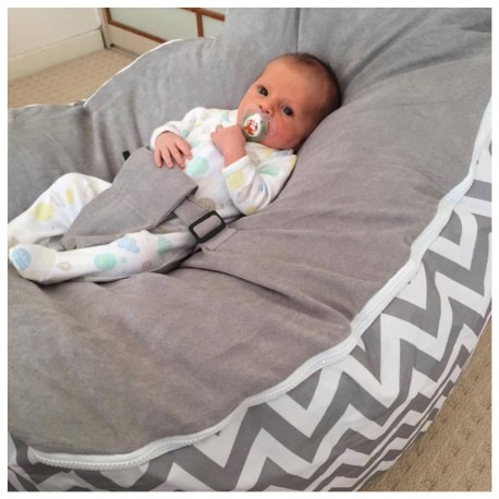 Marvelous Chevron Grey Bean Bag Chair With Harness Pabps2019 Chair Design Images Pabps2019Com