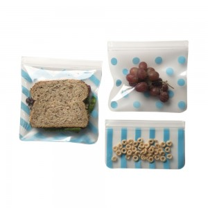 3x REUSABLE FOOD BAGS - Blue
