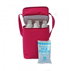6 BOTTLE COOLER - Pink/ Light Pink
