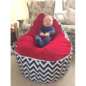 Chevron Red on Black Bean Bag Chair with Harness