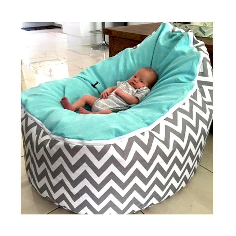Fabulous Chevron Aqua On Grey Bean Bag Chair With Harness Evergreenethics Interior Chair Design Evergreenethicsorg