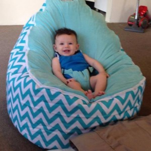 Chevron Aqua Bean Bag Chair with Harness
