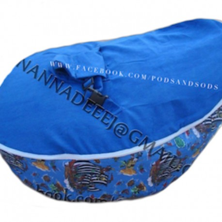 Pirate Ships Blue Bean Bag Chair with Harness