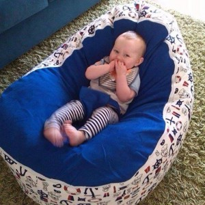 Nautical Blue Bean Bag Chair with Harness