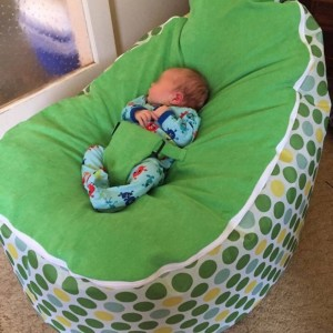 Green Spot Bean Bag Chair with Harness