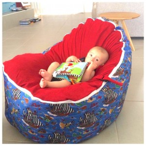 Pirate Ships Red Bean Bag Chair with Harness