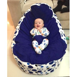 Blue Circles Bean Bag Chair with Harness