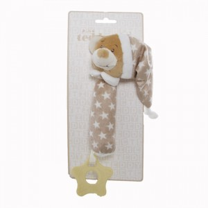 TEDDY BEAR HAND SQUEAKER - brown