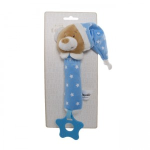 TEDDY BEAR HAND SQUEAKER - blue