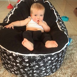 Skulls Black Bean Bag Chair with Harness