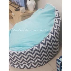 Chevron Aqua on Grey Bean Bag Chair