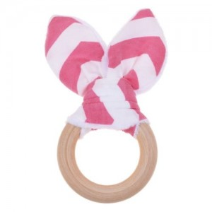 Natural Wood & Bunny Ear Teething Ring –Bright  Pink Chevron