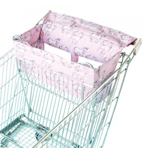 SHOPPING TROLLEY LINER (Fits DOUBLE or SINGLE TROLLEYS) - Pink Unicorn