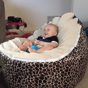 Cream Giraffe Bean Bag Chair with Harness
