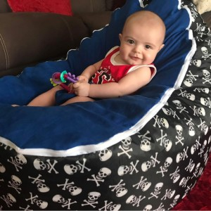 Skulls Blue Bean Bag Chair with Harness