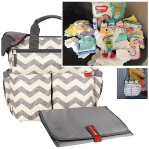 """PICK UP & GO"" COMPLETE  - GREY CHEVRON SIGNATURE BABY BAG"