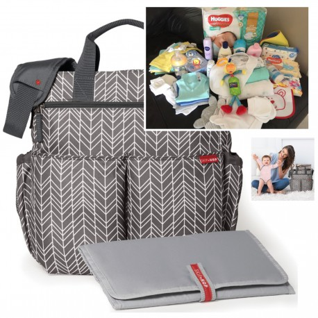 "FILLED ""PICK UP & GO"" SIGNATURE GREY FEATHER BABY BAG"