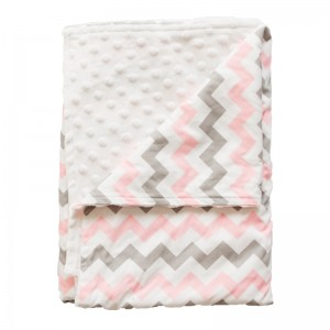 PRAM BLANKET – Pink on Grey Chevron