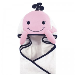 HOODED TOWEL - pink whale