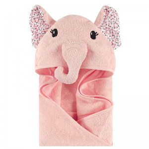 HOODED TOWEL - pink elephant