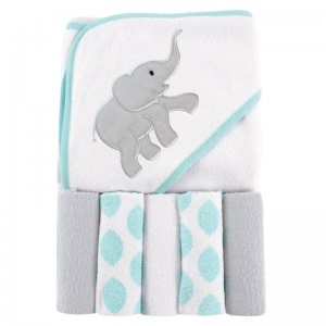 HOODED TOWEL & 5 FACE WASHER SET - elephant