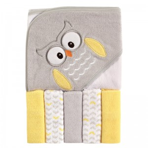 HOODED TOWEL & 5 FACE WASHER SET - owl