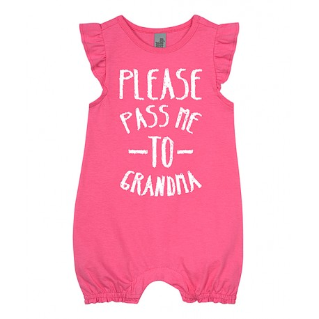 'Please Pass Me to Grandma' FLUTTER SLEEVE ROMPER - size 6-12 months