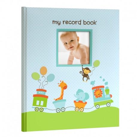 TINY IDEAS  BABY RECORD BOOK UP TO 5th BIRTHDAY - blue safari train