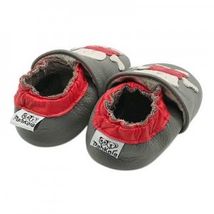 SOFT SOLED LEATHER BABY SHOES - Grey/ Red  6-12 months