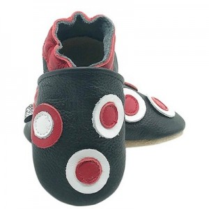 SOFT SOLED LEATHER BABY SHOES - Grey/Red Circles  6-12 months
