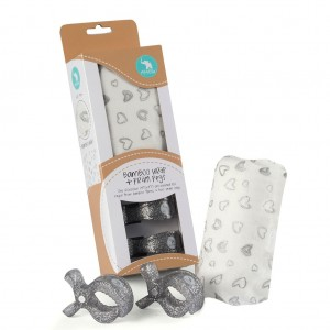 "BAMBOO WRAP & 2 PRAM PEGS ""silver hearts""  Gift Pack"