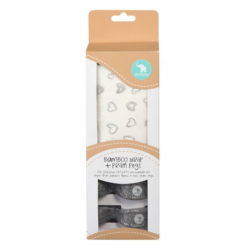 Bamboo Wrap Amp 2 Pram Pegs Silver Hearts Gift Pack Baby
