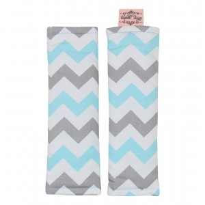 PRAM / CAPSULE HARNESS COVERS – Aqua on Grey Chevron