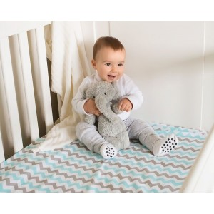FITTED COT SHEET – Aqua on Grey Chevron