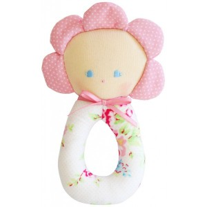 ALIMROSE FLOWER GRAB RATTLE - white floral