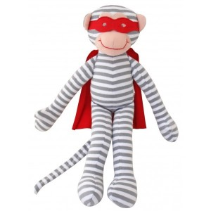 ALIMROSE SUPER HERO MONKEY RATTLE DOLL– blue 30cm