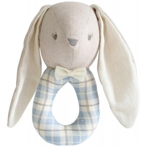 ALIMROSE LINEN LOUIE BUNNY GRAB RATTLE – blue