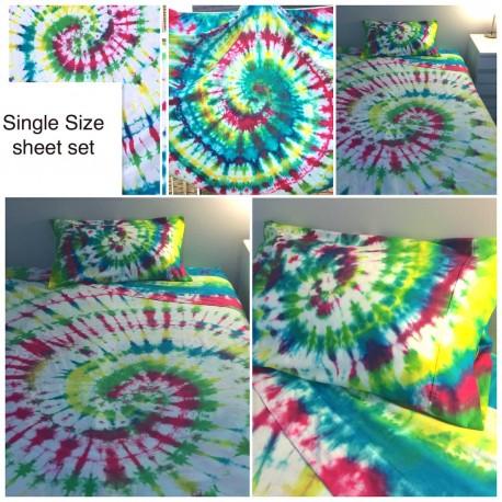 TIE DYED SINGLE SIZE SHEET SET - spiral design