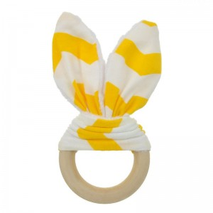 Natural Wood & Bunny Ear Teething Ring – Yellow Chevron