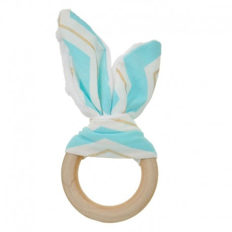 Natural Wood & Bunny Ear Teething Ring – Aqua/ Gold Chevron
