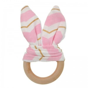 Natural Wood & Bunny Ear Teething Ring – Pink/ Gold Chevron