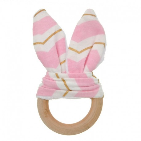 Natural Wood & Bunny Ear Teething Ring – Pink/ Gold Chevron