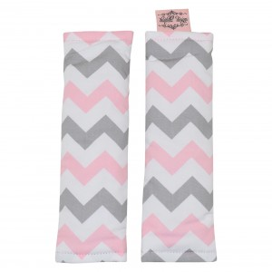 PRAM / CAPSULE HARNESS COVERS – Pink on Grey Chevron
